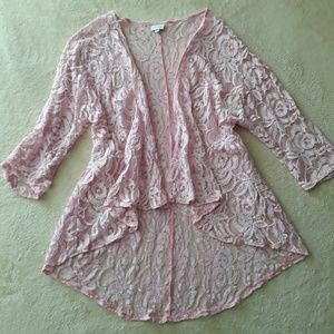 LulaRoe Pink Floral Lace Kimono (Lindsay Style)